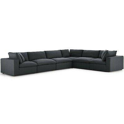 commix down filled overstuffed 6 piece sectional