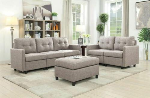 Contemporary Sectional Sofa Set Loveseat Couch Microsuede Re