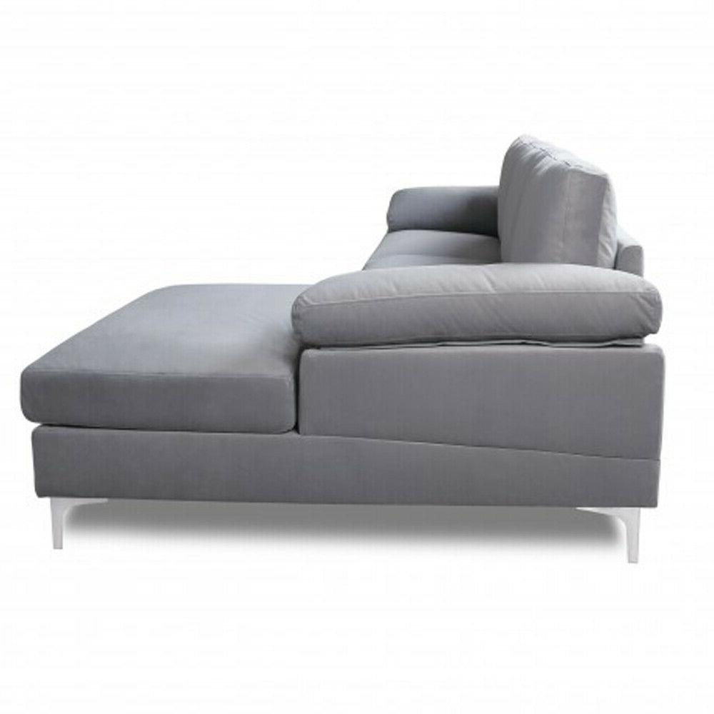 Convertible Sectional Fabric L-Shaped Couch Reversible Left