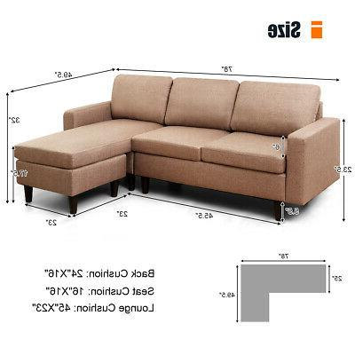 Convertible Linen Couch w/Reversible Chaise