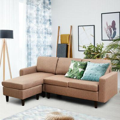 Convertible Sectional Sofa Linen Couch w/Reversible Chaise