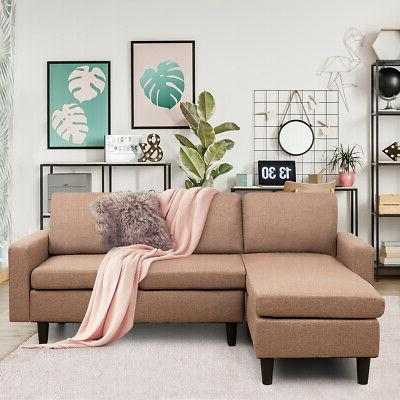 Linen w/Reversible Chaise Coffee