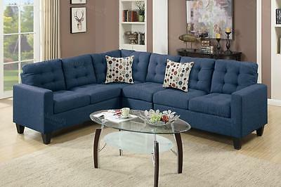 Poundex F6938 4-Pcs Navy Fabric Sectional Sofa Couch Set