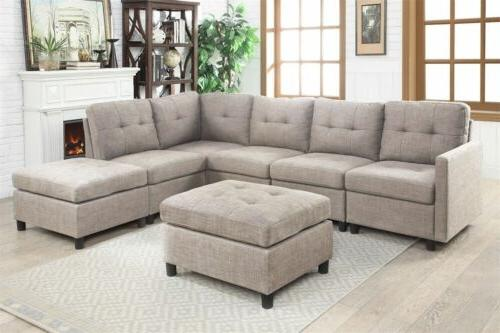 Sectional Sofa Set  Contemporary Couch Microsuede Reversible