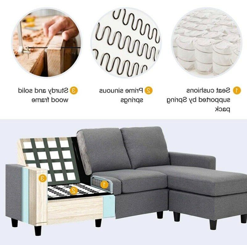 Grey Sectional Couch L Couch for Small Apartment