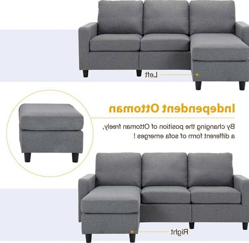Grey Reversible Sectional Couch 3-seat Couch for Apartment