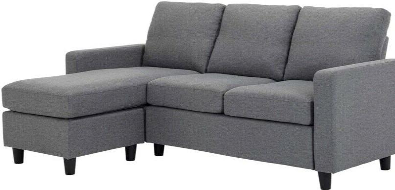 Grey Sectional Sofa Couch 3-seat Shape Couch for Small Apartment
