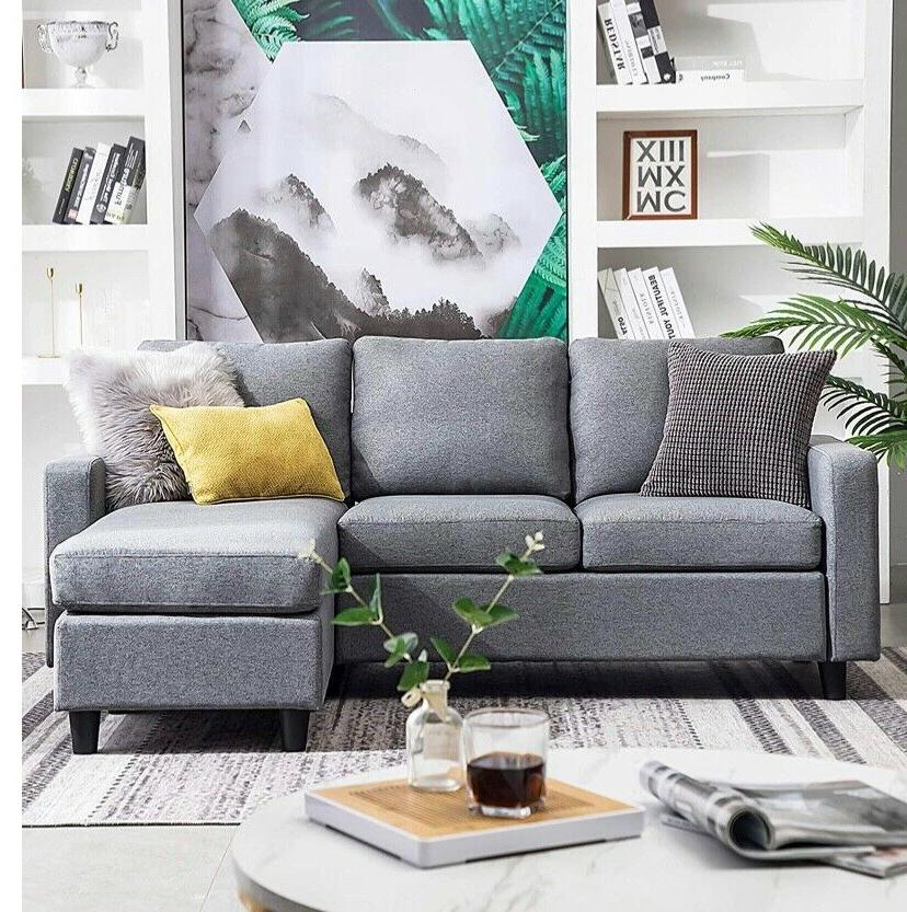 grey reversible sectional sofa couch 3 seat