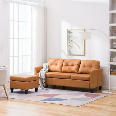 Hot Sectional Sofa PU Couch Living Light Brown