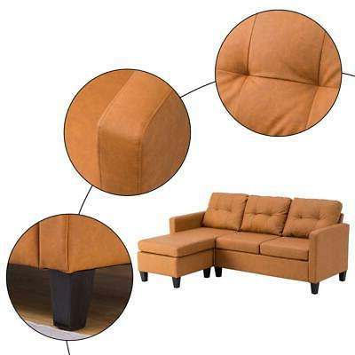 Hot Sofa PU Couch Living Room Light Brown