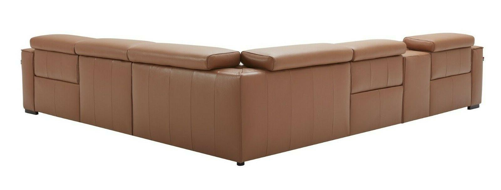 J&M Furniture Picasso Carmel Top Leather Sectional Sofa, 6