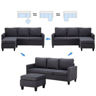 New Convertible Sectional Sofa Couch L-Shaped Couch w/ Back