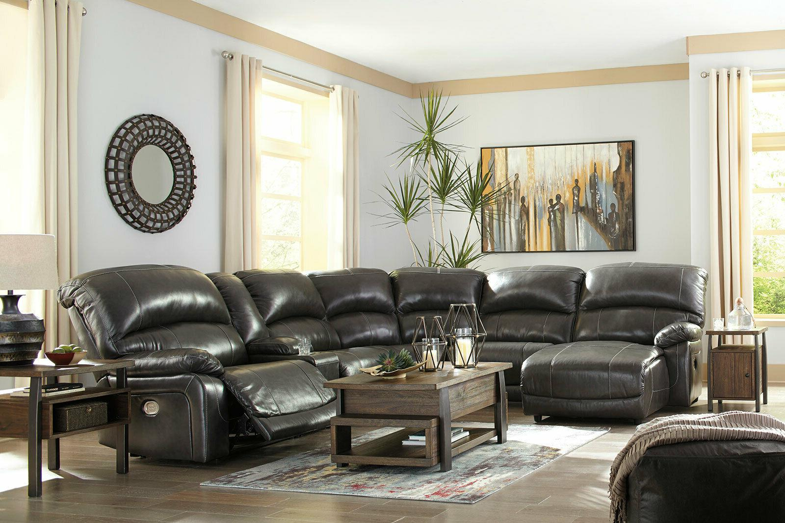 living room 6 piece sectional gray leather