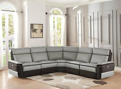 Living Gray Leather 5 pieces Sofa IF62