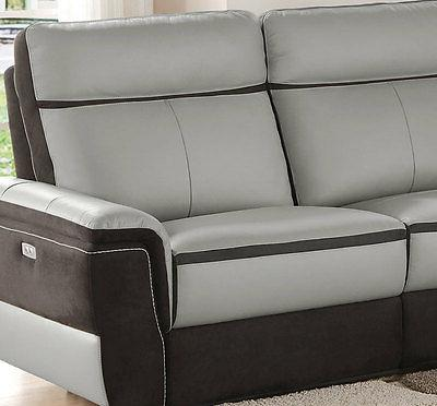 Living Room Modular Gray Leather Power 5 pieces
