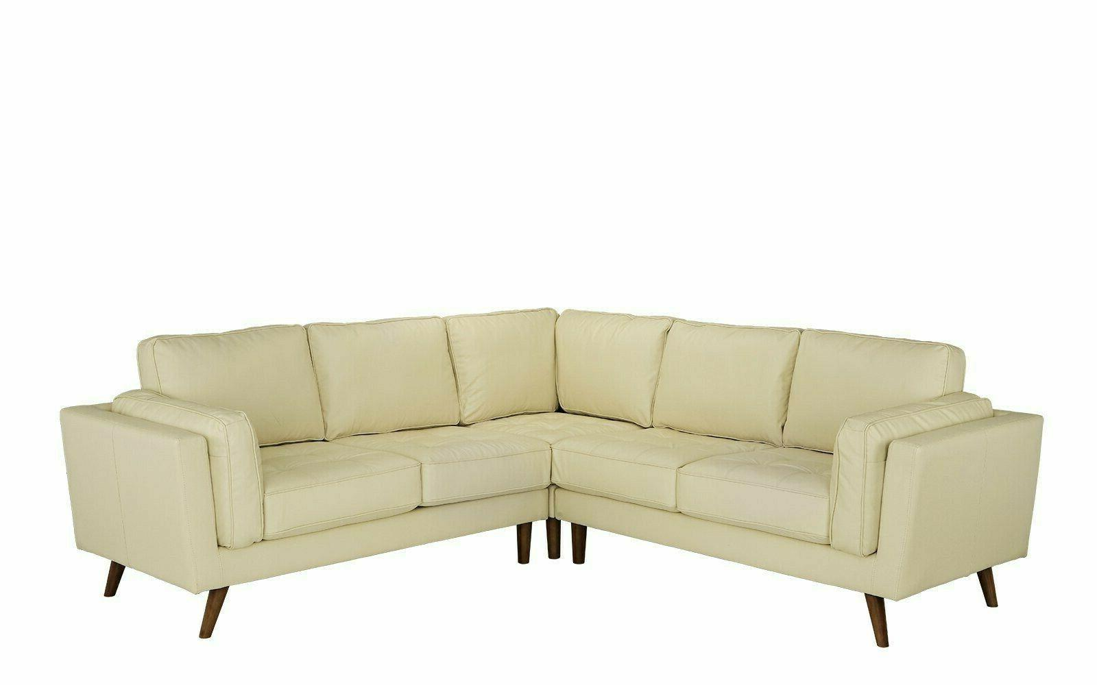 mid century modern leather match sectional sofa