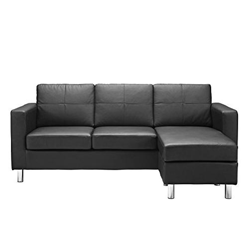 Modern Bonded Sofa Small Space Configurable Couch Colors Black, White