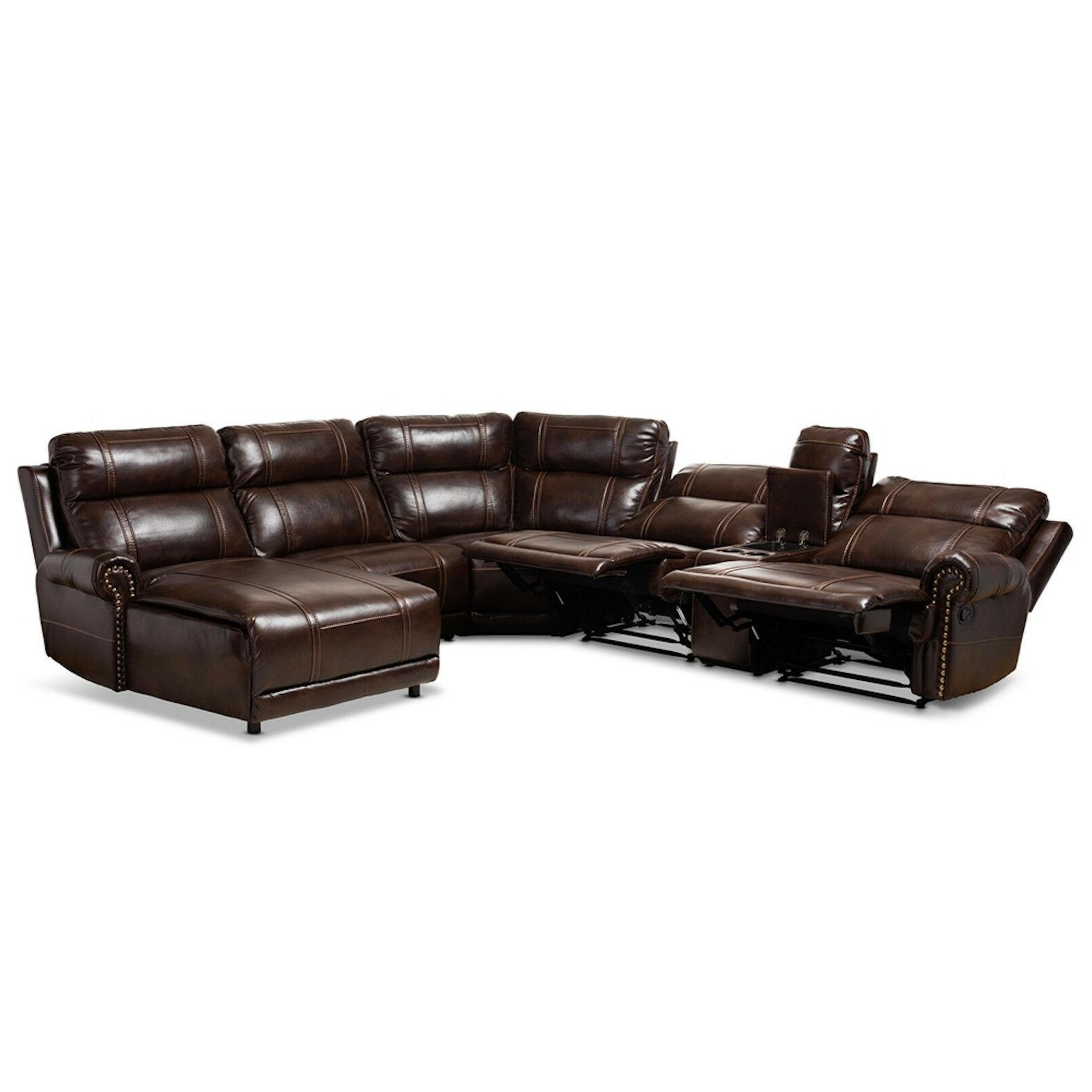 MODERN BROWN LEATHER 6-PIECE THEATER SECTIONAL SOFA RECLINER