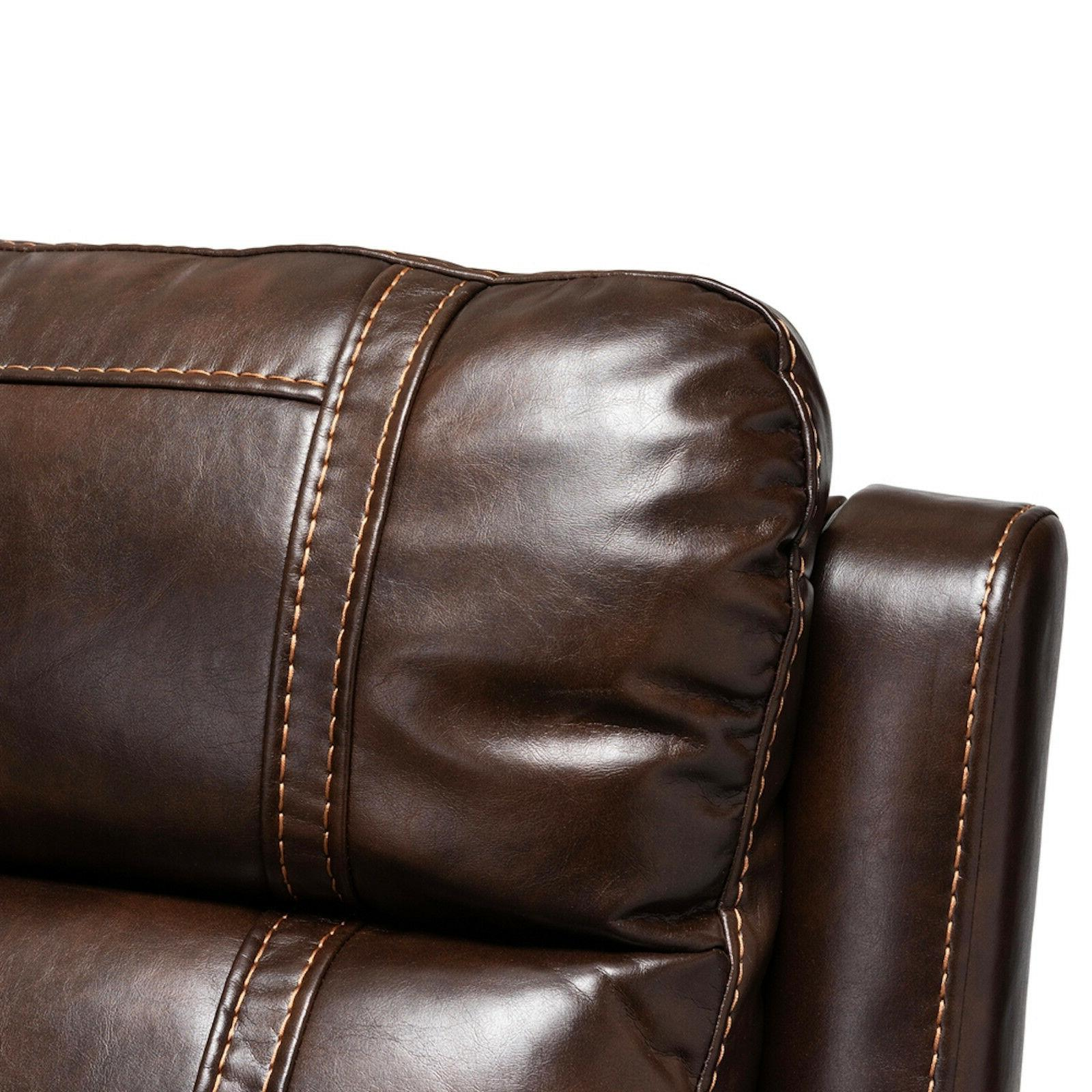 MODERN BROWN FAUX LEATHER 6-PIECE RECLINER LOUNGE
