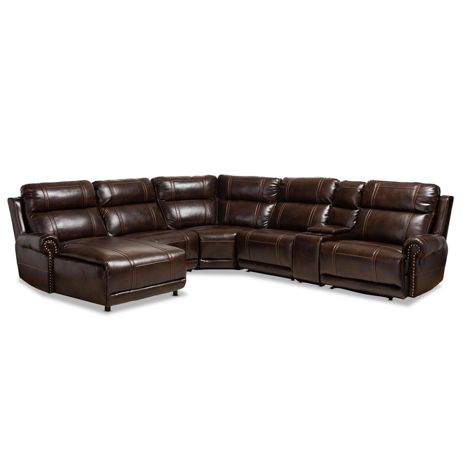 modern brown faux leather 6 piece theater