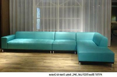 3 pc set Modern Contemporary blue/5521 Leather Sectional Sof