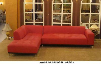 2 pieces set Modern contemporary design Red Leather Sectiona