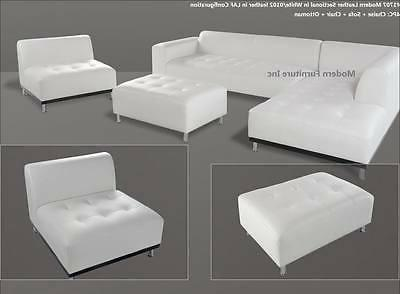 Modern contemporary white Leather Sectional Sofa chaise chai