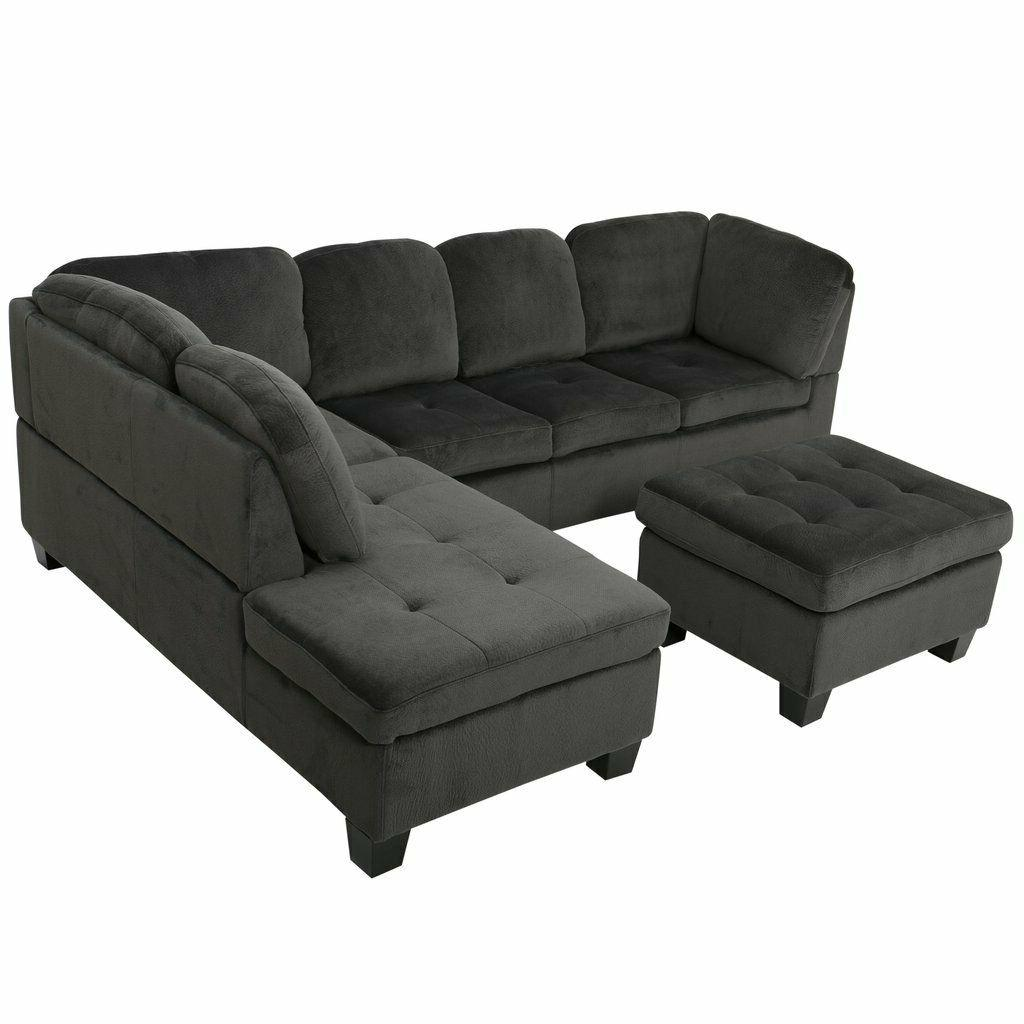 Charcoal Fabric Couch Chaise