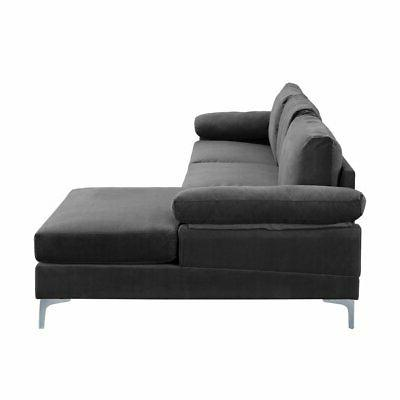Modern Large Sectional L-Shape Couch Wide Chaise