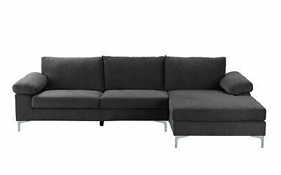 Modern Large Velvet Fabric Sectional Sofa, Couch Wide