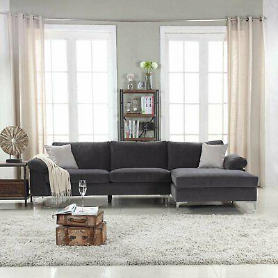 Modern Fabric Sectional Sofa, L-Shape Wide Chaise
