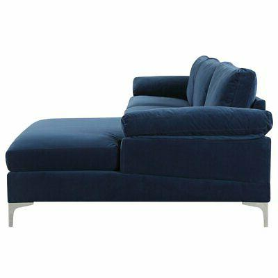 Navy Blue Fabric Sectional Sofa Couch Chaise