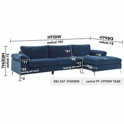 Navy Blue Fabric Sofa L-Shape Couch Chaise