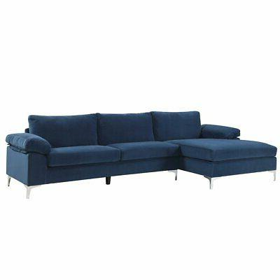 Navy Large Velvet Couch Extra Chaise