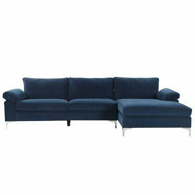 Navy Blue Large Velvet Fabric Sectional Sofa L-Shape Couch w