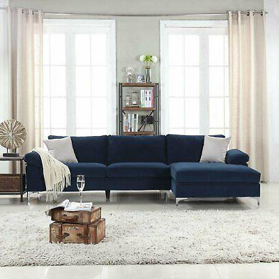 Navy Large Velvet Fabric Couch Chaise