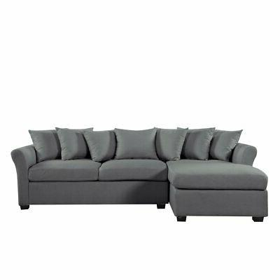 Grey Chaise Large Left Facing Pillows