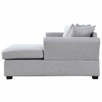 Grey Chaise Large Facing with Pillows