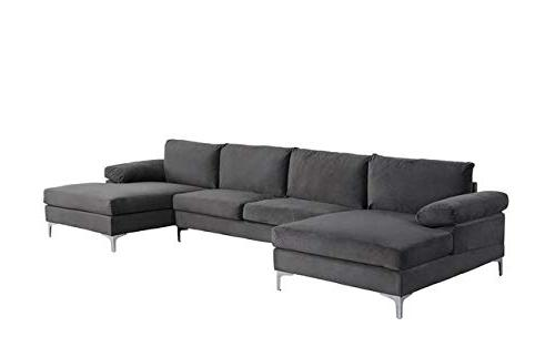Modern Velvet Fabric U-Shape Sofa, Double Extra Wide Couch