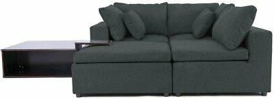 Modular Sofa Sectional L-Shape Couch Table & Grey