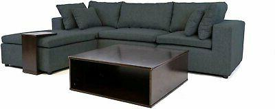 Modular Style Sofa Sectional L-Shape Couch Wood Table
