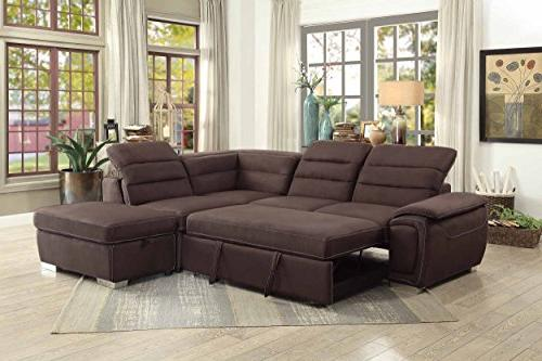 """Homelegance 103"""" Sofa with Bed Chocolate Fabric"""