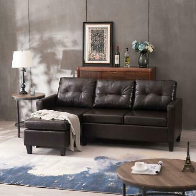 pu leather sectional l shaped sofa small