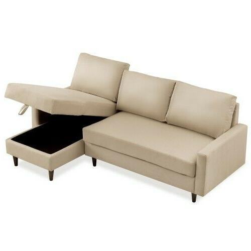 Pull out Sleeper Sectional Sofa with storage
