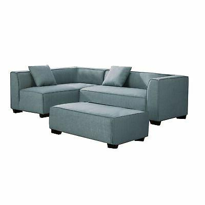 reversible fabric upholstered sectional sofa with ottoman