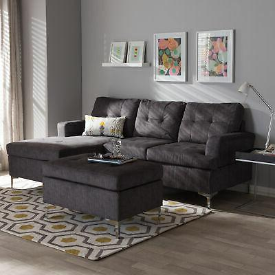 riley modern right facing chaise tufted gray