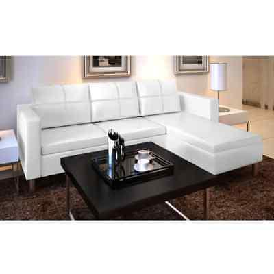 vidaXL 3-Seater L-shaped Artificial Leather Sectional Sofa W