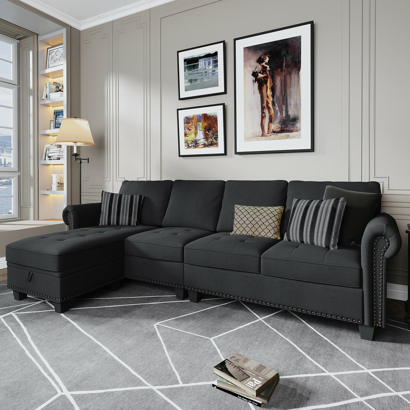 Sectional Sofa Convertible Couch L 4-seat Dark