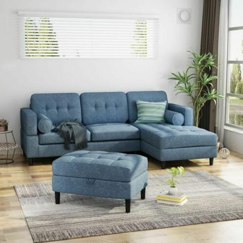 Vita Upholstered Chaise Sectional Sofa Set with Storage Otto