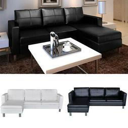 L-shaped Sectional Sofa 3-Seater Artificial Leather Couches